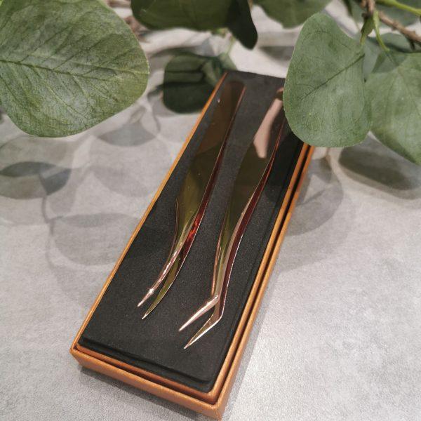 buy Premium Gold eyelash extension Tweezers singapore