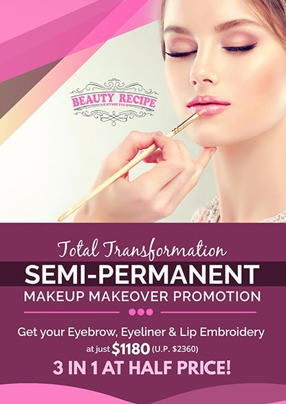 Semi permanent makeup eyebrow eyeliner lip embroidery promotion package Singapore